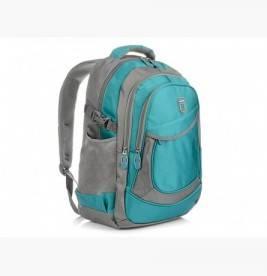 TURKUSOWO-SZARY solidny 3KOMOROWY plecak miejski SPORTOWY A4 N61