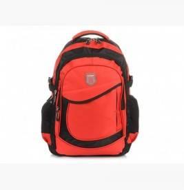 CZERWONO-CZARNY solidny 3KOMOROWY plecak miejski SPORTOWY A4 N61