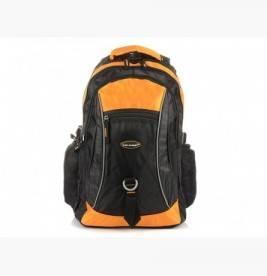 POMARAŃCZOWO-CZARNY Solidny 3KOMOROWY plecak miejski SPORTOWY duży M83