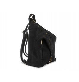 Włoski Stylowy Plecak Damski Skórzany Zamsz A4 W14
