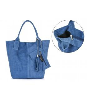 Włoska Torebka Skórzana Zamszowa A4 Shopperka niebieska T49