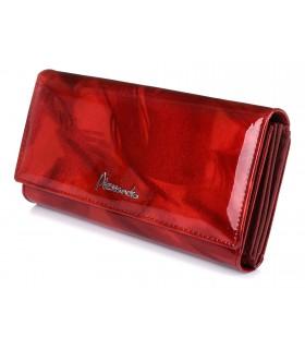 Czerwony portfel skórzany damski duży piórko pudełko Q57