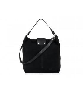 Czarna duża torba skórzana damska zamszowa shopperka M29