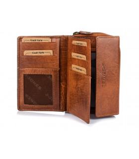 Brązowy Portfel Damski Skórzany Poziomy Vintage Plecionka Q62
