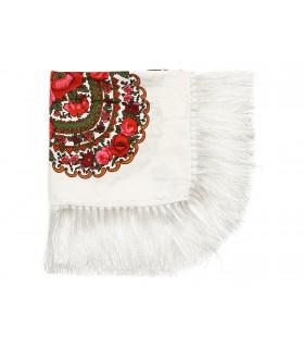 Biała Duża góralska chusta frędzel MODNA Folk wzory Q79