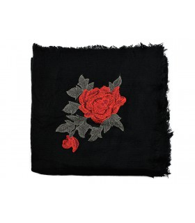 Czarna ciepła chusta damska szal z wyszywaną różą duża Q80