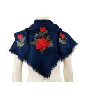 Granatowa ciepła chusta damska szal z wyszywaną różą duża Q80
