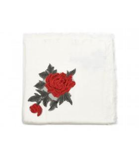 Biała ciepła chusta damska szal z wyszywaną różą duża Q80