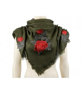 Khaki ciepła chusta damska szal z wyszywaną różą duża Q80