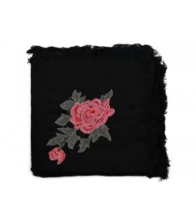 Czarna ciepła chusta damska szal z wyszywaną różą duża Q81