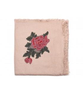 Różowa ciepła chusta damska szal z wyszywaną różą duża Q81