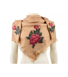Camelowa ciepła chusta damska szal z wyszywaną różą duża Q81
