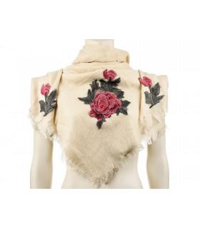 Beżowa ciepła chusta damska szal z wyszywaną różą duża Q81