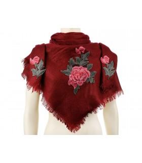 Bordowa ciepła chusta damska szal z wyszywaną różą duża Q81