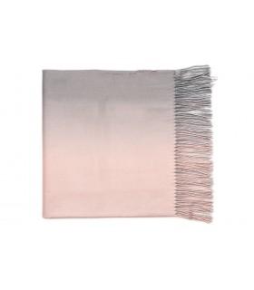 Różowo-szary Szal damski duży kaszmirowy z frędzlami OMBRE Q82