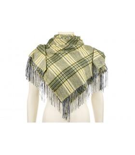 Zielony szalik kaszmirowy duży frędzle modna krata Q85