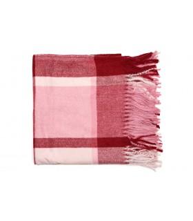 Różowy Szalik kaszmirowy duży frędzle modna krata wielokolorowy Q87