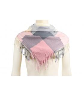Jasno-różowy Szalik chusta unisex modna krata wielokolorowy  Q89