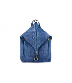 Niebieski Włoski Stylowy Plecak Damski Skórzany Zamsz A4 W14