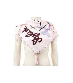Młodzieżowa chusta modna frędzle kolorowe napisy Q91