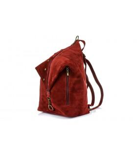 Bordowy Włoski Stylowy Plecak Damski Skórzany Zamsz A4 W14