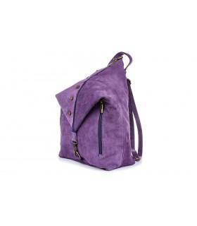 Śliwkowy Włoski Stylowy Plecak Damski Skórzany Zamsz A4 W14