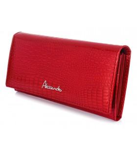 CZERWONY Alessandro Paoli duży damski portfel skórzany croco RFID H21