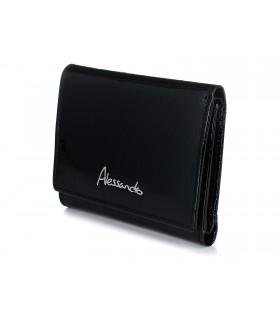Czarny Damski Mały portfelik skórzany Alessandro Paoli RFID G15