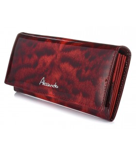 Czerwony Pojemny portfel damski skórzany RFID poziomy w cętki G36