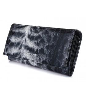 Czarny Pojemny portfel damski skórzany RFID poziomy w cętki G36