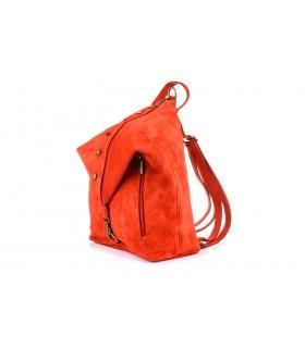 Czerwony Włoski Stylowy Plecak Damski Skórzany Zamsz A4 W14