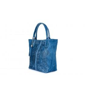 Niebieska Duża Skórzana Shopperka skóra krokodyla torba worek Z SASZETKĄ L94
