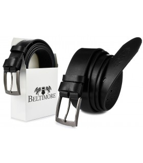 Beltimore skórzany licowy pasek męski czarny premium E14