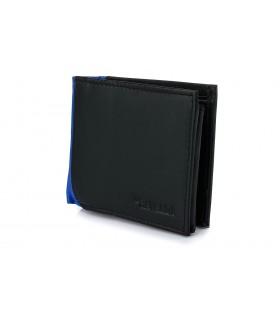 Czarno- niebieski portfel męski poziomy klasyczny skórzany A52