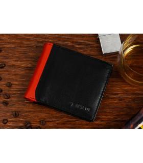 Czarno- koniakowy portfel męski poziomy klasyczny skórzany A52