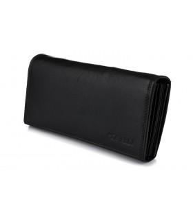 Czarny duży portfel kelnerski skórzany pojemny D02