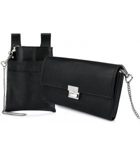 Czarny portfel i etui na portfel i łańcuch zestaw skórzany dla kelnera D01