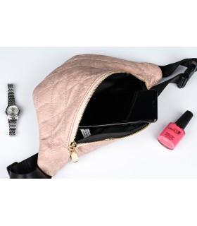 Brudno-różowa nerka saszetka damska biodrówka pikowana Q27