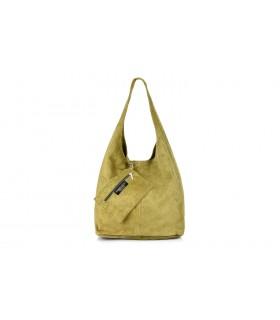 zamszowa torebka skórzana na ramię z saszetką N88