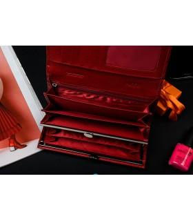 Portfel skórzany duży damski różowy Alessandro N53