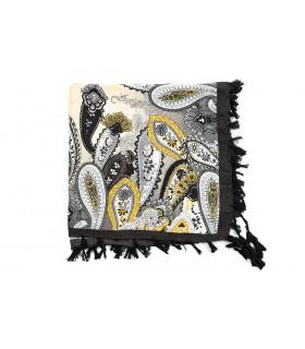 Czarna Duża ludowa chusta z frędzlami MODNA Folk wzory Apaszka B36