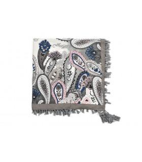 Szara Duża ludowa chusta z frędzlami MODNA Folk wzory Apaszka B36
