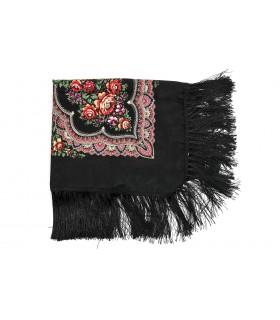 Czarna Duża ludowa chusta z frędzlami MODNA apaszka kwiaty B37