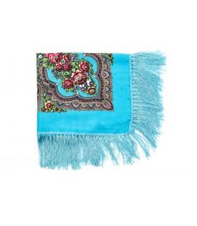 Niebieska Duża ludowa chusta z frędzlami MODNA apaszka kwiaty B37