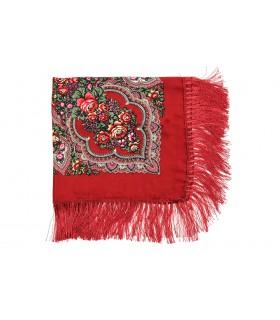 Ciemno- Czerwony Duża ludowa chusta z frędzlami MODNA apaszka kwiaty B37