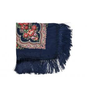 Granatowa Duża ludowa chusta z frędzlami MODNA apaszka kwiaty B37