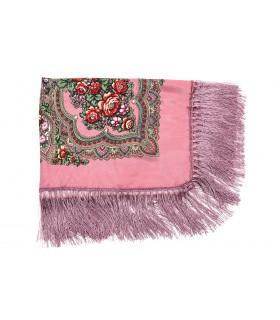 Różowa Duża ludowa chusta z frędzlami MODNA apaszka kwiaty B37