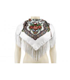 Biała Duża ludowa chusta z frędzlami MODNA apaszka kwiaty B37