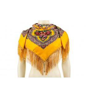 Żółta Duża ludowa chusta z frędzlami MODNA apaszka kwiaty B37