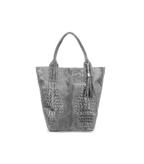 Szara Duża Skórzana Shopperka skóra krokodyla torba worek Z SASZETKĄ L94
